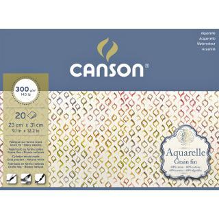 Aquarelblok Canson 23x31cm 20V 300gr Fijn Gelijmd