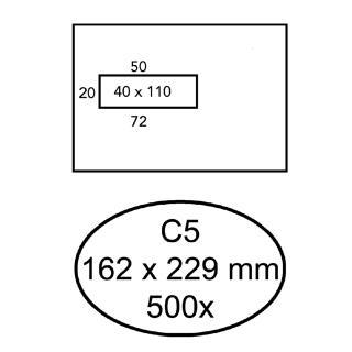 Envelop Hermes C5 162x229mm Venster 4×11 Links Zelfkl 500st