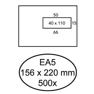Envelop Hermes EA5 156x220mm Venster 4×11 Rechts Zelfkl 500st