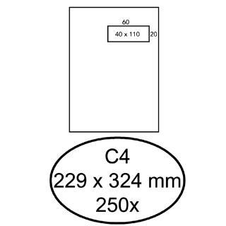 Envelop Hermes Akte C4 229x324mm Venster 4×11 Rechts Zelfkl 250st