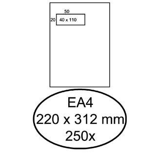 Envelop Hermes Akte EA4 220x312mm Venster 4×11 Links Zelfkl 250st