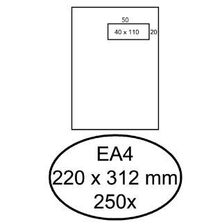 Envelop Hermes Akte EA4 220x312mm Venster 4×11 Rechts Zelfkl 250st