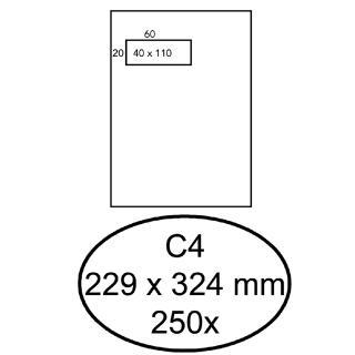 Envelop Quantore 229x324mm Venster 4x11cm Links 250stuks
