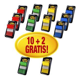 Indextabs 3M Post-it 680 25.4×43.2mm 10+2 Gratis Assorti