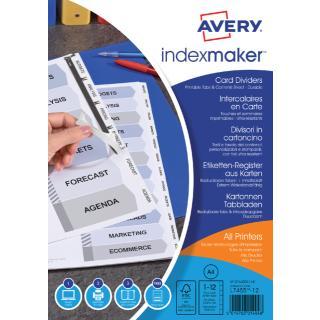 Tabbladen Avery Indexmaker 9-gaats 12-delig Wit