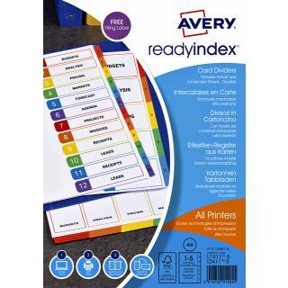 Tabbladen Avery Readyindex 9-gaats 5-delig 1-5 Assorti