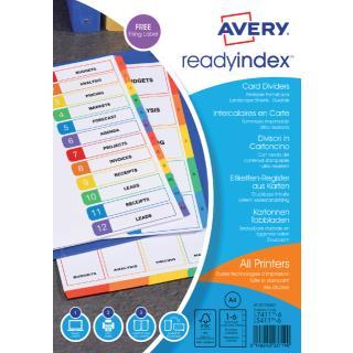 Tabbladen Avery Readyindex 9-gaats 6-delig 1-6 Assorti