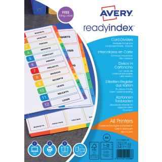 Tabbladen Avery Readyindex 9-gaats 12-delig 1-12 Assorti