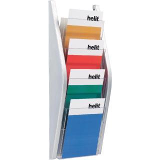 Folderhouder Helit Wand 4xA5 Zilver