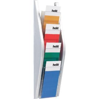 Folderhouder Helit Wand 4×1/3 A4 Zilver