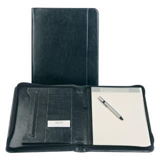 Schrijfmap Brepols A4 Palermo Luxe  Met Rits En Blok Zwart