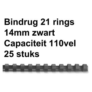 Bindrug Fellowes 14mm 21rings A4 Zwart 25 Stuks