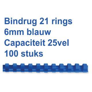 Bindrug Fellowes 6mm 21rings A4 Blauw 100stuks