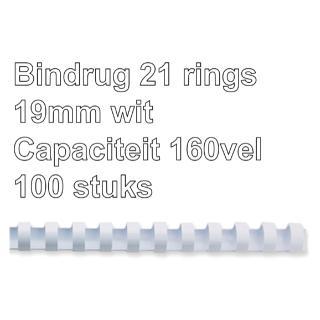 Bindrug Fellowes 19mm 21rings A4 Wit 100stuks