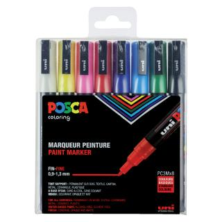Verfstift Posca 0.9-1.3mm 8 Kleuren