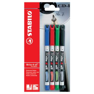 Viltstift STABILO Write-4-All 156 Permanent Fijn Blister à 4 Kleuren