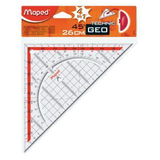Geodriehoek Maped 028700 260mm 45graden Transparant