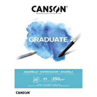 Aquarelblok Canson Graduate A4 250gr 20vel