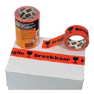 Verpakkingstape CleverPack Breekbaar 50mmx66m PP Oranje/zwart
