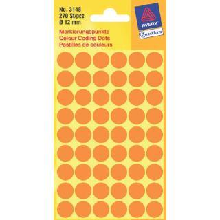Etiket Avery Zweckform 3148 Rond 12mm Lichtoranje 270stuks