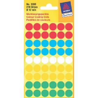 Etiket Avery Zweckform 3088 Rond 12mm Assorti 270stuks