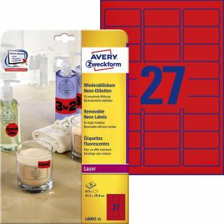 Etiket Avery L6003-25 63.5×29.6 Neon Rood 675stuks