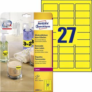 Etiket Avery L6004-25 63.5×29.6 Neon Geel 675stuks