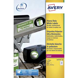 Etiket Avery L4773-20 63.5×33.9mm Polyester Wit 480stuks