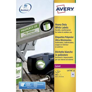 Etiket Avery L4778-20 45.7×21.2mm Polyester Wit 960stuks
