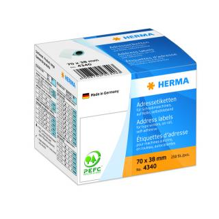 Etiket Herma Adres 4340 70x38mm 250stuks Op Rol Wit