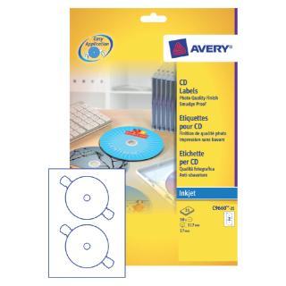 Etiket Avery C9660-25 CD Hoog Glans 50stuks