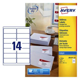 Etiket Avery J8163-100 99.1×38.1mm Wit 1400stuks