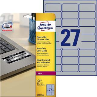 Etiket Avery L6011-20 63.5×29.6mm Zilver 540stuk