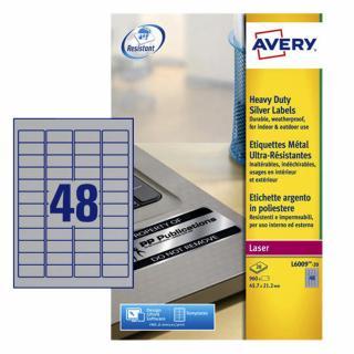Etiket Avery L6009-20 45.7×21.2mm Zilver 960stuks