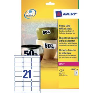 Etiket Avery L7060-20 63.5×38.1mm Polyester Wit 420stuks