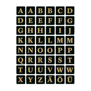 Etiket Herma 4130 13x13Mm Letters A-Z Zwart Op Goud