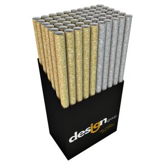 Inpakpapier Design Group Glitter Uni 150x70cm Assorti