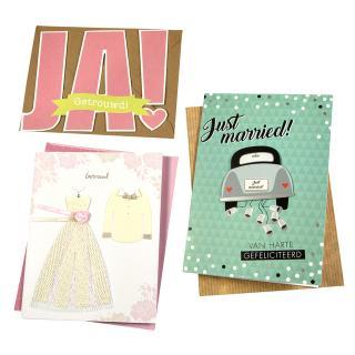 Wenskaart Paperclip Navulset Huwelijk Set à 6 Kaarten