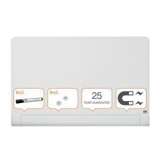 Glasbord Nobo Widescreen Afgeronde Hoeken 99,3×55,9cm Briljant Wit